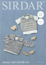 Sirdar Snuggly Baby Crofter 4ply - 4712 Boys V Neck Sweater & Tank Top Knitting Pattern